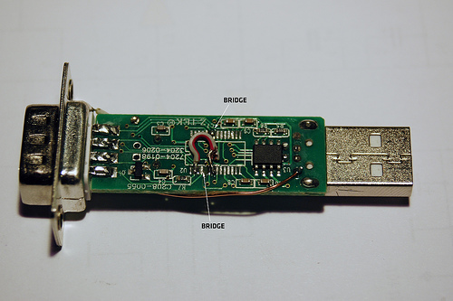 PCB after modification (bottom)